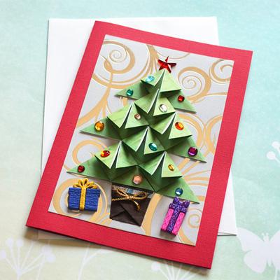 Оригами открытки с новым годом своими руками
